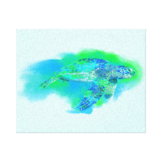 Swimming Sea Turtle Gallery Wrapped Canvas