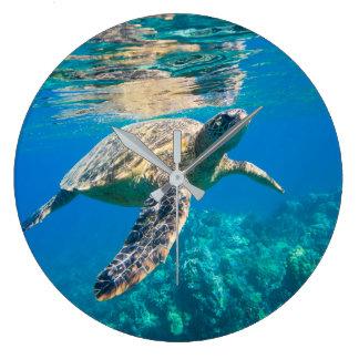 Swimming Sea Turtle Large Clock