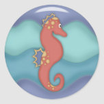 Swimming Seahorse Gifts Round Sticker