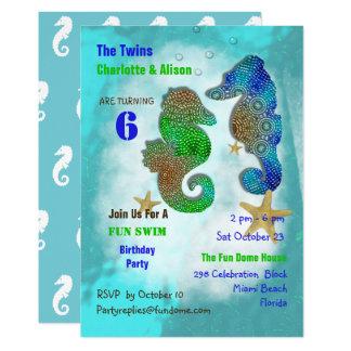 Swimming  Seahorses Twins Birthday Party Invite