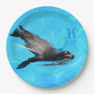 Swimming Seal 9 Inch Paper Plate