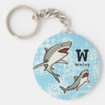Swimming Sharks, Add Child's Name and Monogram Basic Round Button Keychain
