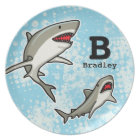 Swimming Sharks, Add Child's Name and Monogram Plate
