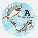 Swimming Sharks, Add Child's Name and Monogram Round Sticker