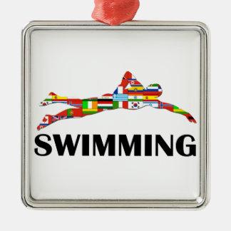 Swimming Silver-Colored Square Ornament