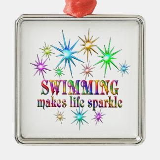 Swimming Sparkles Silver-Colored Square Ornament