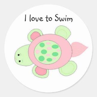 Swimming Turtle Classic Round Sticker