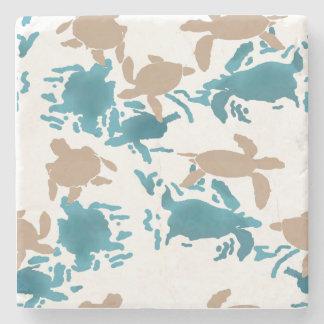 Swimming Turtle Pattern White Stone Coaster