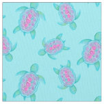 Swimming turtles watercolor art pattern fabric