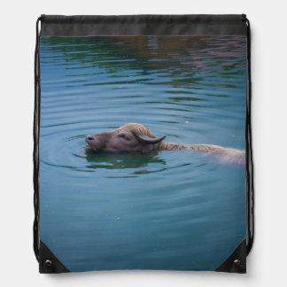 Swimming Water Buffalo Drawstring Bags