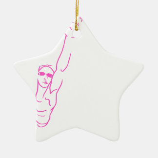 Swimming Woman Pink Ceramic Star Ornament