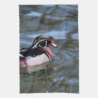 Swimming Wood Duck Kitchen Towel