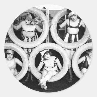 Swimsuit Flapper girls Classic Round Sticker