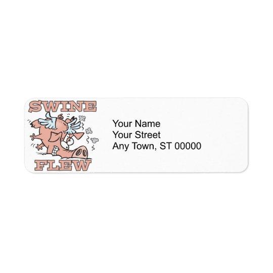 swine flew flying pig flu pun cartoon return address label