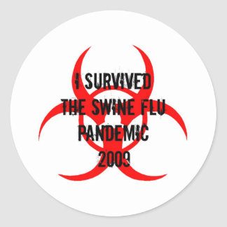 SWINE FLU PANDEMIC CLASSIC ROUND STICKER