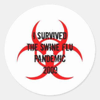 SWINE FLU PANDEMIC ROUND STICKER