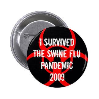 SWINE flu pandemic survivor - BLACK 2 Inch Round Button