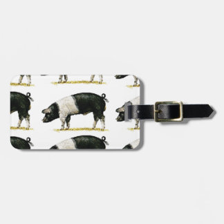 swine in a row luggage tag
