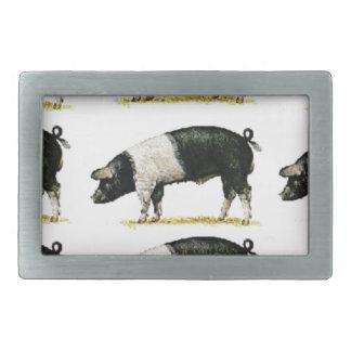 swine in a row rectangular belt buckle