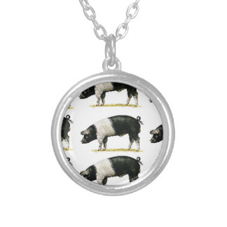 swine in a row silver plated necklace