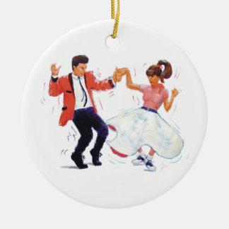 swing dancer poodle skirt & saddle shoes ceramic ornament