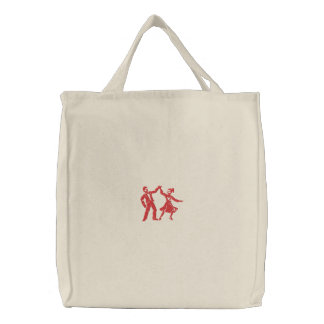 Swing Dancers Embroidered Tote Bags
