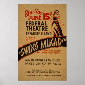 Swing Mikado Vintage Theatre WPA Poster