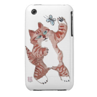 Swing Paws- Tiger kitten swings at a butterfly iPhone 3 Case-Mate Cases