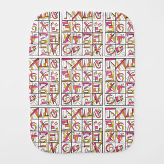 Swing Set - Multicolored Abstract Grid Ink Drawing Burp Cloths