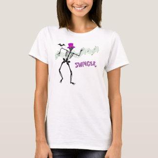 Swinger Skeletion and Bat Halloween T-Shirt