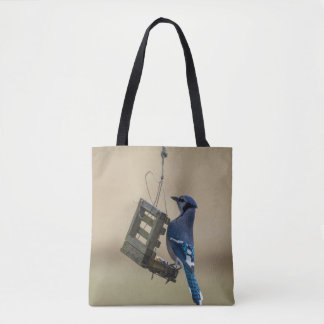 Swinging Blue Jay Tote Bag