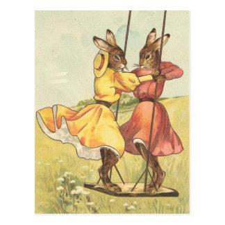 swinging bunnies vintage card