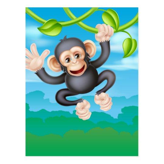 Swinging Cartoon Chimp Postcard