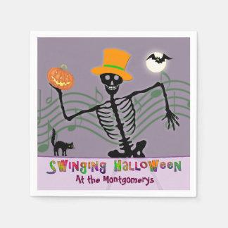 Swinging Halloween Party Skeleton Disposable Napkin