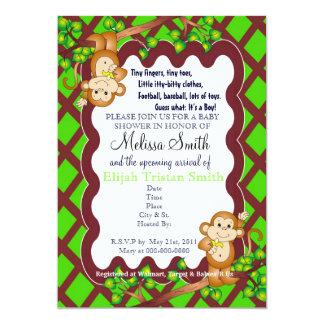 "Swinging Monkey Baby Shower Invitations 5"" X 7"" Invitation Card"