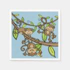 Swinging Monkeys Birthday Paper Napkins