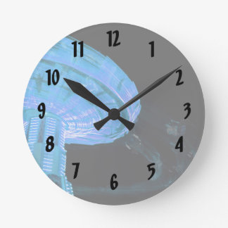 swings ride in blue fair midway carnival image wall clocks