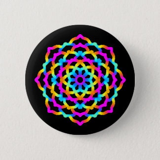 Swipes in Mandala Multicolore Psychedelic 2 Inch Round Button