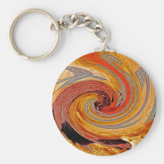 Swirl 02-Colors of Rust/Rust-Art Basic Round Button Keychain