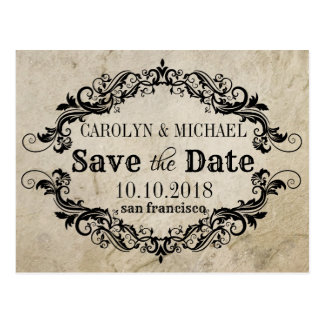 Swirl and Flourish antique Wedding Save the Date Postcard