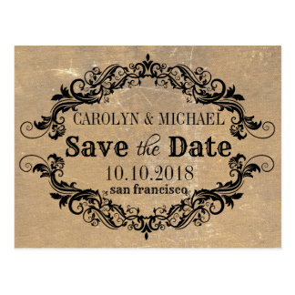 Swirl and Flourish old paper Wedding Save the Date Postcard