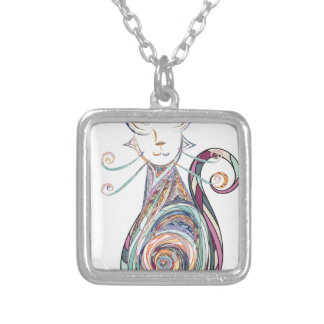 swirl cat copy silver plated necklace