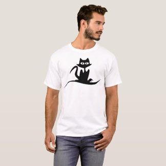 Swirl Cat Illustration T-Shirt