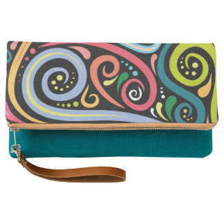 SWIRL CAT Teal Fold-Over Clutch