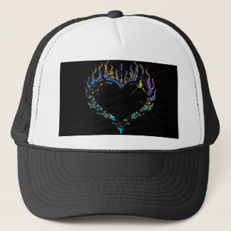 Swirl Color Rhinestone Flaming Heart Baseball Hat