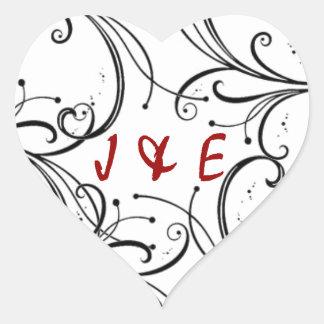 Swirl Initials Sticker/Envelope Seal Heart Sticker