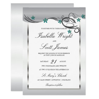 Swirl Jade Floral Design Wedding Invitation
