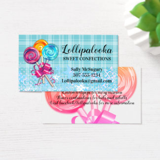 swirl lollipops candy confections business card