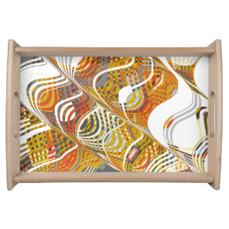 Swirl Mixed Color, Small Serving Tray, Natural Food Trays