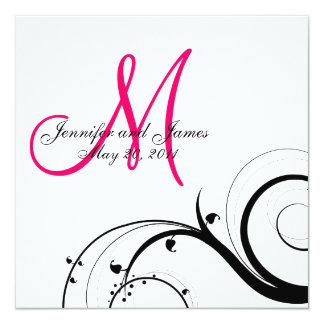 "Swirl Monogram Wedding Save the Date Back View 5.25"" Square Invitation Card"